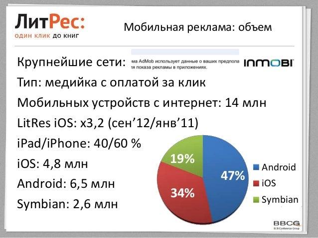 Мобильная реклама: объемКрупнейшие сети:Тип: медийка с оплатой за кликМобильных устройств с интернет: 14 млнLitRes iOS: x3...