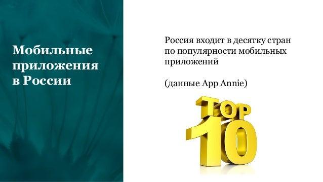 Мобильные приложения в России Россия входит в десятку стран по популярности мобильных приложений (данные App Annie)
