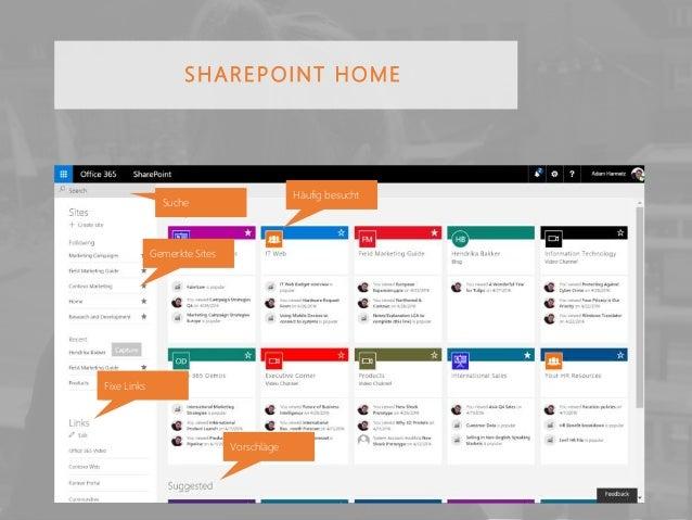 SHAREPOINT HOME Häufig besucht Vorschläge Gemerkte Sites Fixe Links Suche
