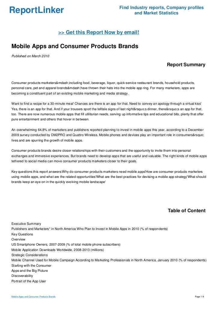 Mobile Apps and Consumer Products Brands