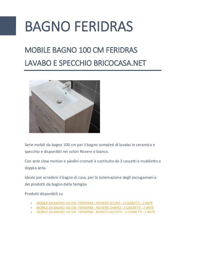 Mobiletti E Specchiere Bagno.Mobile Bagno Feridras 100 Cm Lavabo Specchio