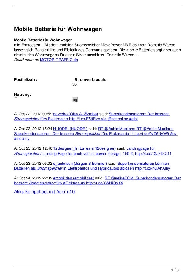 Mobile Batterie für WohnwagenMobile Batterie für Wohnwagenmid Emsdetten – Mit dem mobilen Stromspeicher MovePower MVP 360 ...