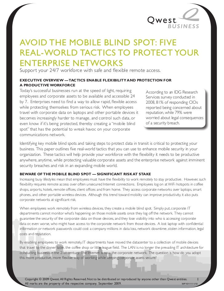 Avoid the Mobile bliNd Spot: FiveReAl-WoRld tACtiCS to pRoteCt YouReNteRpRiSe NetWoRkSSuppor t your 24/7 workforce with sa...