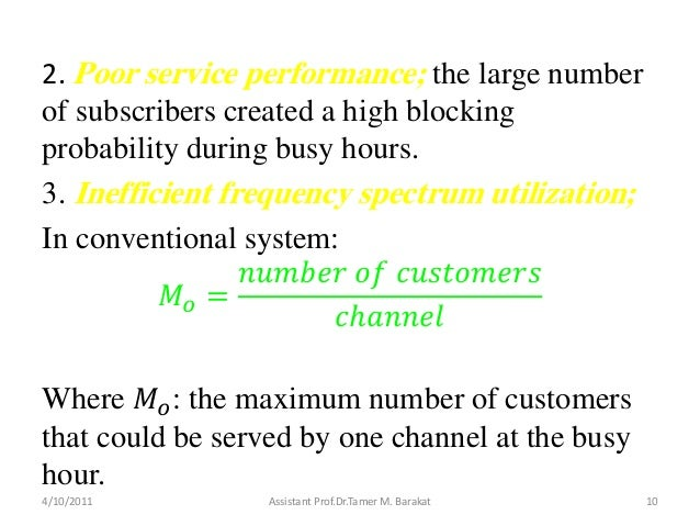 2. Poor service performance; the large numberof subscribers created a high blockingprobability during busy hours.3. Ineffi...