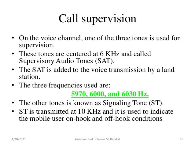 Call supervision• On the voice channel, one of the three tones is used forsupervision.• These tones are centered at 6 KHz ...