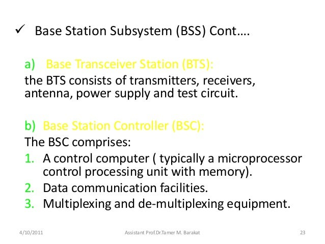  Base Station Subsystem (BSS) Cont….a) Base Transceiver Station (BTS):the BTS consists of transmitters, receivers,antenna...