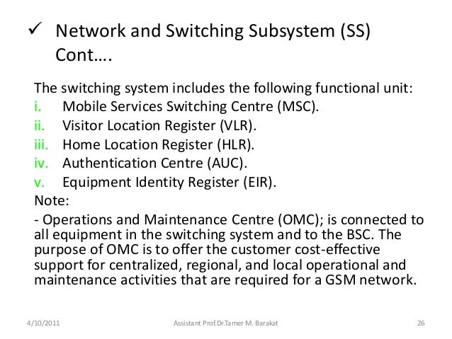  Network and Switching Subsystem (SS)Cont….The switching system includes the following functional unit:i. Mobile Services...