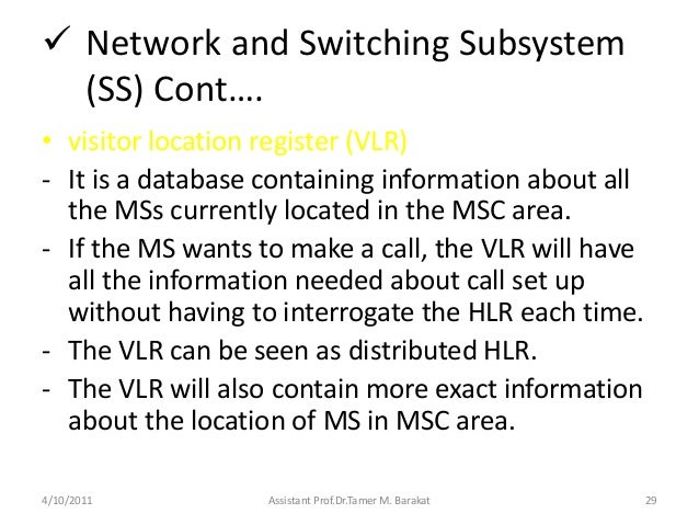  Network and Switching Subsystem(SS) Cont….• visitor location register (VLR)- It is a database containing information abo...