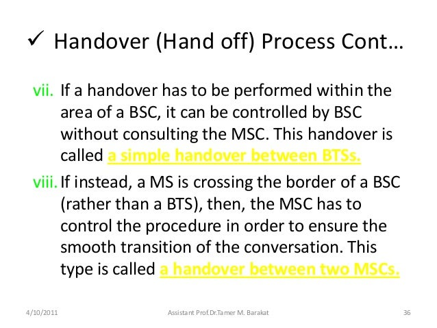  Handover (Hand off) Process Cont…vii. If a handover has to be performed within thearea of a BSC, it can be controlled by...
