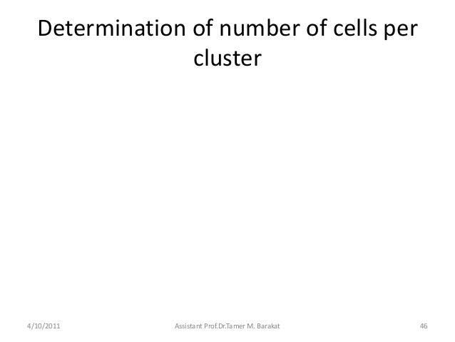 Determination of number of cells percluster4/10/2011 Assistant Prof.Dr.Tamer M. Barakat 46