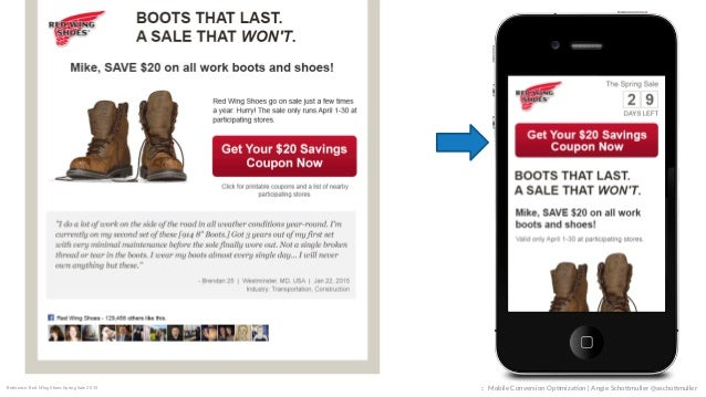 photograph relating to Red Wings Boots Printable Coupons known as Cell Conversion Optimization for Context