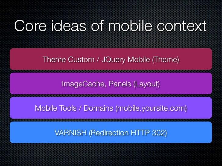 Core ideas of mobile context    Theme Custom / JQuery Mobile (Theme)         ImageCache, Panels (Layout)  Mobile Tools / D...