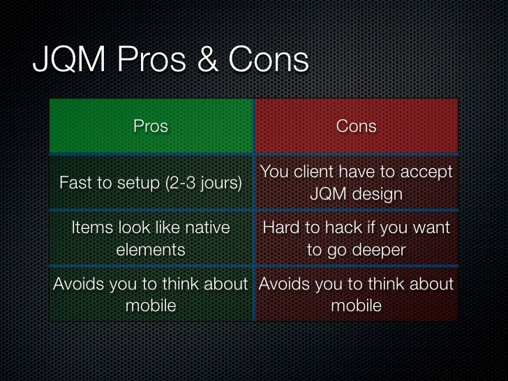 JQM Pros & Cons           Pros                      Cons                           You client have to accept Fast to setup...