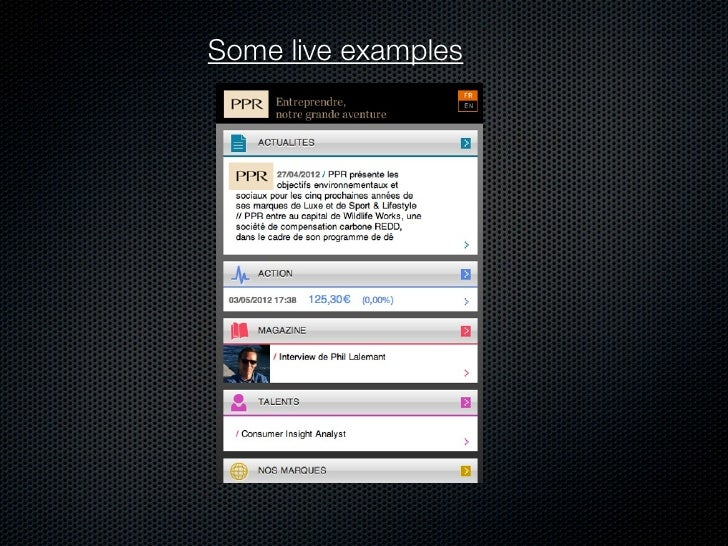 Some live examples