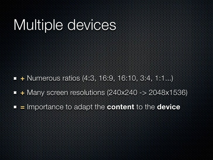 Multiple devices + Numerous ratios (4:3, 16:9, 16:10, 3:4, 1:1...) + Many screen resolutions (240x240 -> 2048x1536) = Impo...