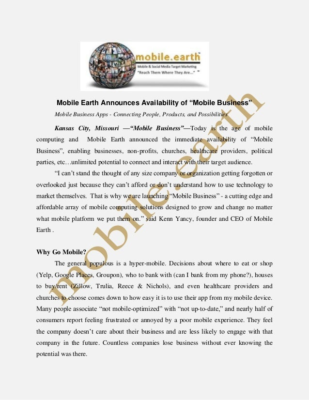 "Mobile Earth Announces Availability of ""Mobile Business"" Mobile Business Apps - Connecting People, Products, and Possibili..."