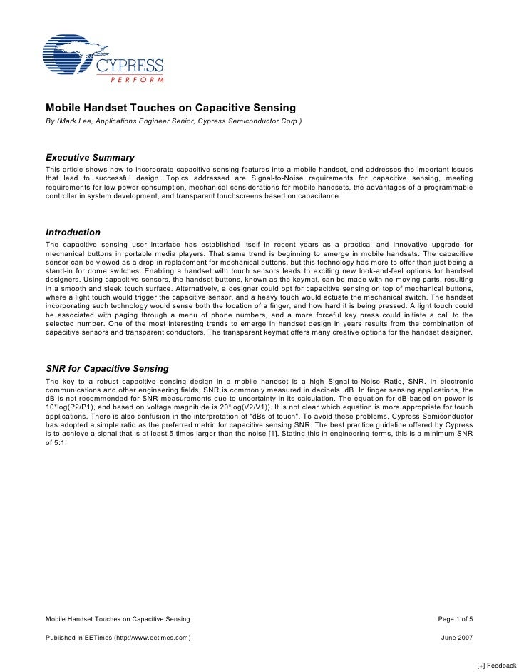 Mobile Handset Touches on Capacitive Sensing By (Mark Lee, Applications Engineer Senior, Cypress Semiconductor Corp.)    E...