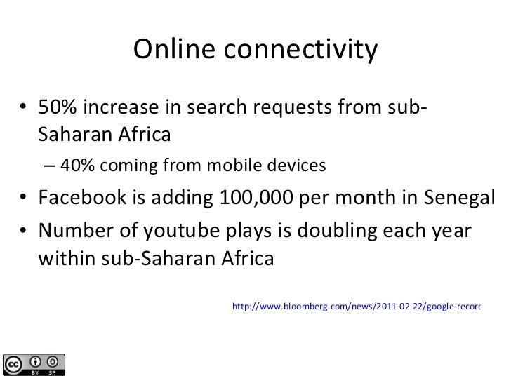 Online connectivity <ul><li>50% increase in search requests from sub-Saharan Africa </li></ul><ul><ul><li>40% coming from ...