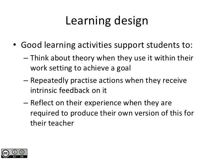 Learning design <ul><li>Good learning activities support students to: </li></ul><ul><ul><li>Think about theory when they u...
