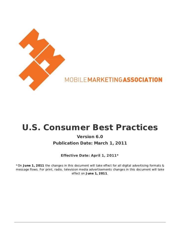 U.S. Consumer Best Practices                                         Version 6.0                         Publication Date:...