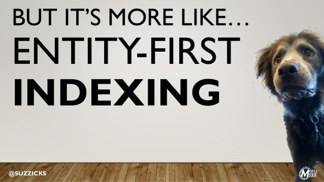BUT IT'S MORE LIKE… ENTITY-FIRST INDEXING @SUZZICKS