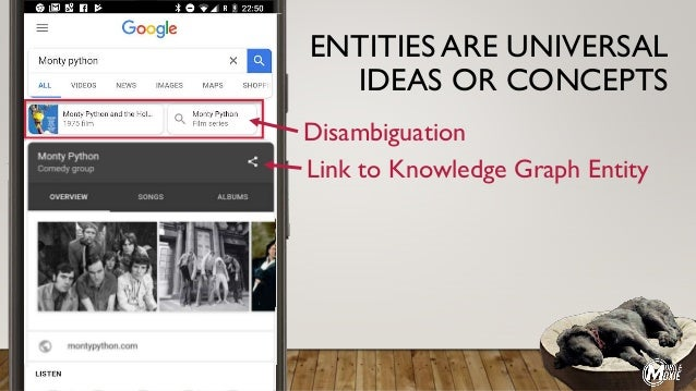 Disambiguation Link to Knowledge Graph Entity ENTITIES ARE UNIVERSAL IDEAS OR CONCEPTS