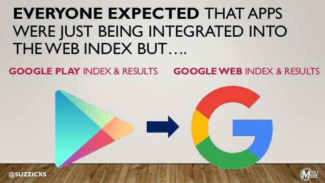 EVERYONE EXPECTED THAT APPS WERE JUST BEING INTEGRATED INTO THE WEB INDEX BUT…. @SUZZICKS GOOGLE PLAY INDEX & RESULTS GOOG...