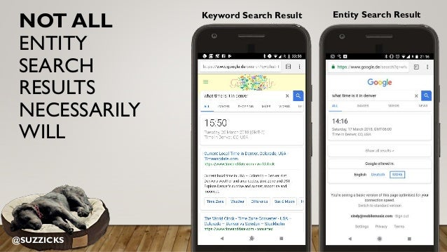 NOT ALL ENTITY SEARCH RESULTS NECESSARILY WILL Keyword Search Result Entity Search Result @SUZZICKS