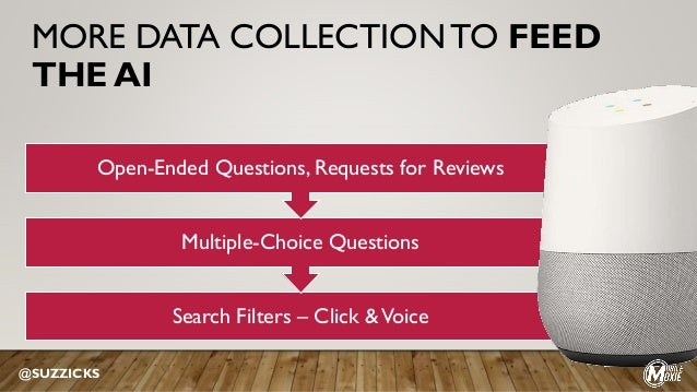 MORE DATA COLLECTION TO FEED THE AI Search Filters – Click &Voice Multiple-Choice Questions Open-Ended Questions, Requests...