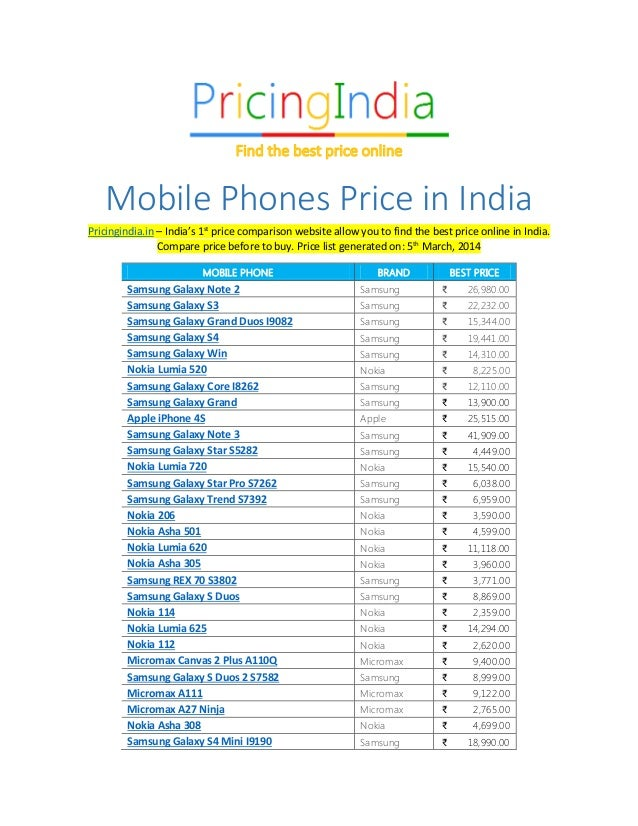 Mobile Phones Price in India Pricingindia.in – India's 1st price comparison website allow you to find the best price onlin...