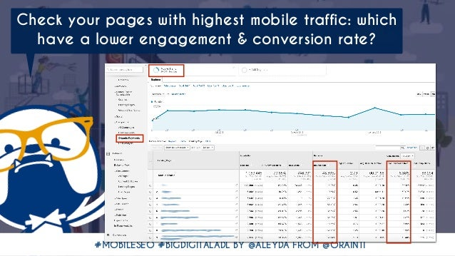#MOBILESEO #BIGDIGITALADL BY @ALEYDA FROM @ORAINTI Check your pages with highest mobile traffic: which have a lower engage...