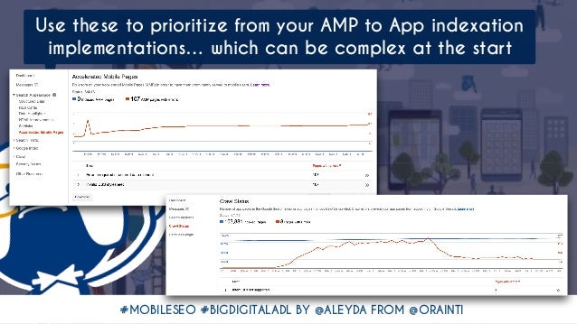 #MOBILESEO #BIGDIGITALADL BY @ALEYDA FROM @ORAINTI Use these to prioritize from your AMP to App indexation implementations...