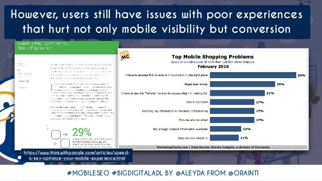 #MOBILESEO #BIGDIGITALADL BY @ALEYDA FROM @ORAINTI However, users still have issues with poor experiences  that hurt not ...