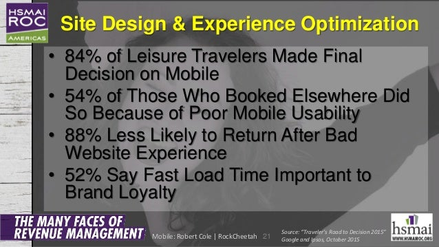 Site Design & Experience Optimization • 84% of Leisure Travelers Made Final Decision on Mobile • 54% of Those Who Booked E...