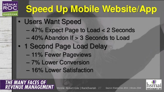 Speed Up Mobile Website/App • Users Want Speed – 47% Expect Page to Load < 2 Seconds – 40% Abandon If > 3 Seconds to Load ...