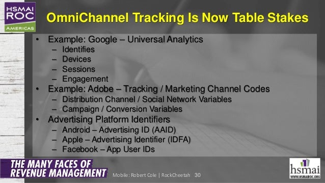 OmniChannel Tracking Is Now Table Stakes • Example: Google – Universal Analytics – Identifies – Devices – Sessions – Engag...