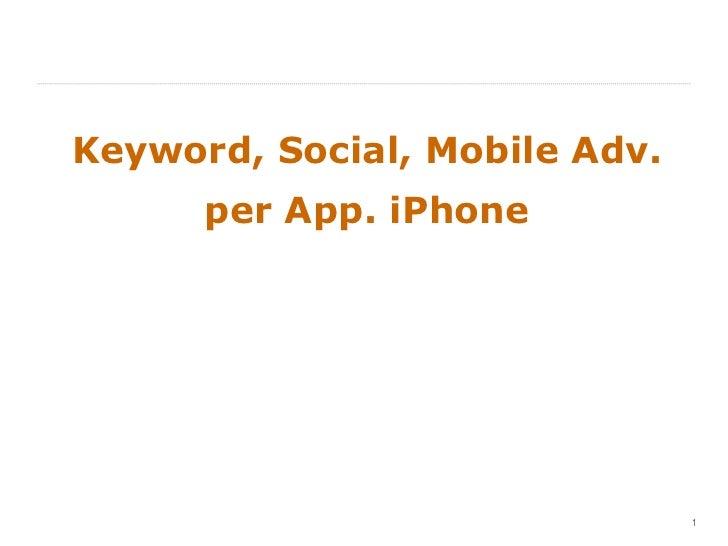 Keyword, Social, Mobile Adv. per App. iPhone
