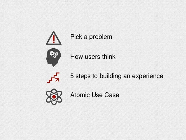 Pick a problem How users think 5 steps to building an experience Atomic Use Case