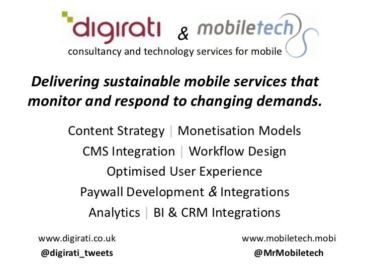 &consultancy and technology services for mobileDelivering sustainable mobile services that monitor and respond to chang...