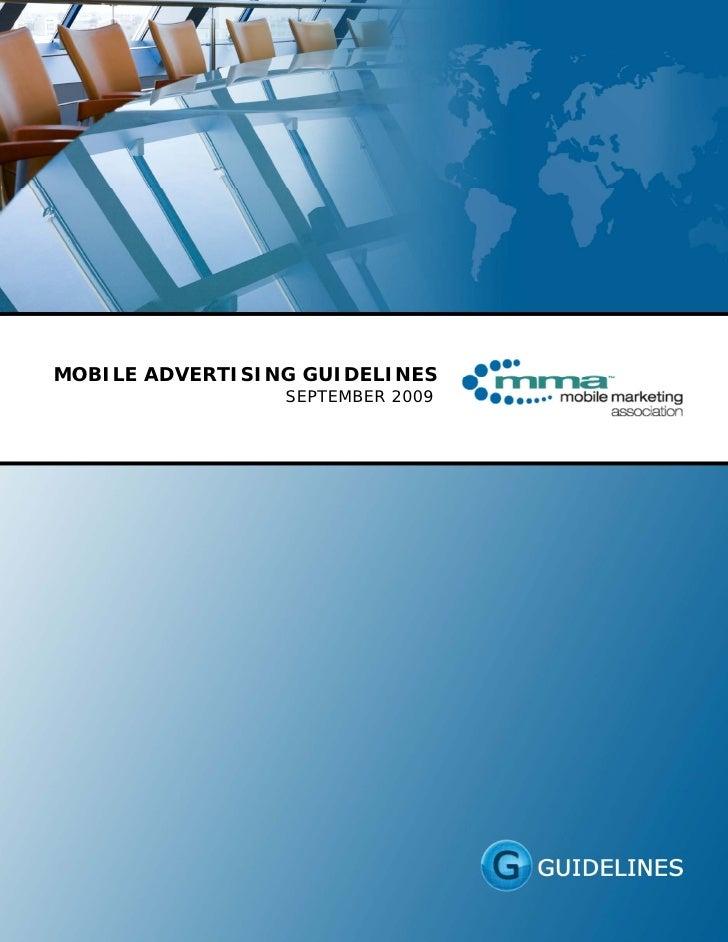 MOBILE ADVERTISING GUIDELINES                  SEPTEMBER 2009                       ...