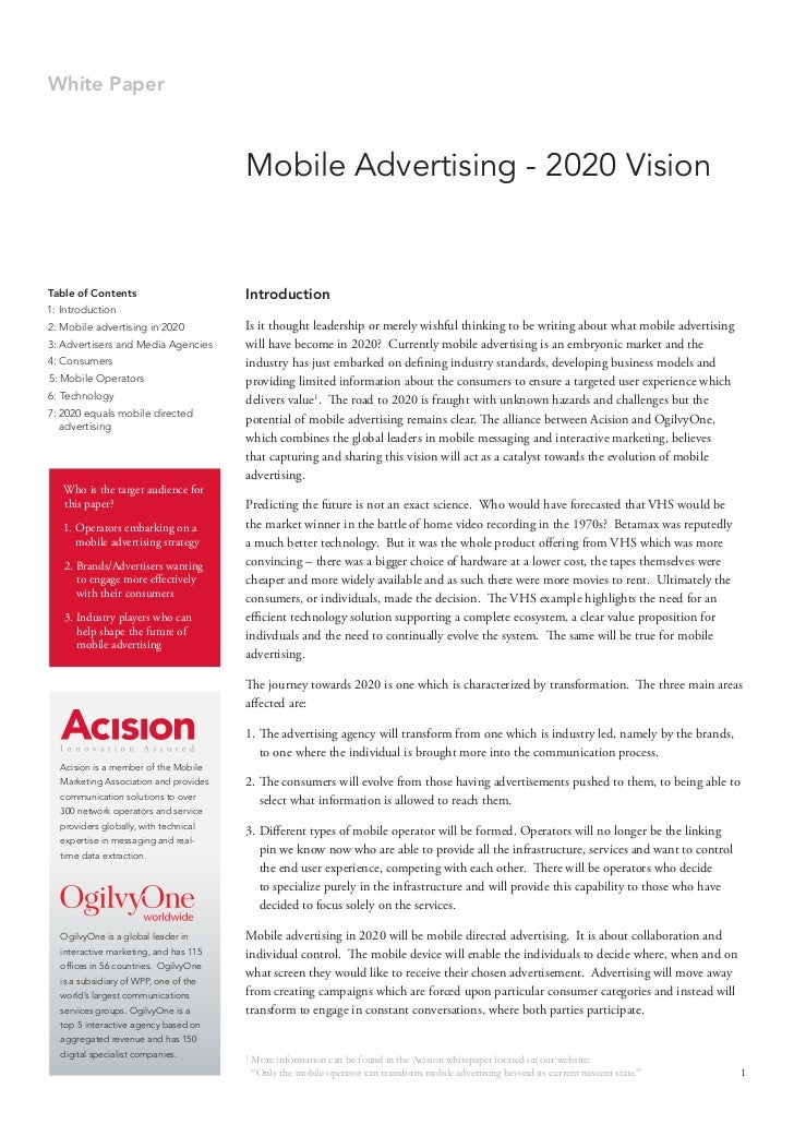 White Paper                                           Mobile Advertising - 2020 Vision   Table of Contents                ...