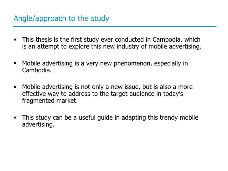 mobile advertising thesis Factors that influence online advertisement effectiveness is crucial an internet  broadcast  advertising on social networks, mobile advertising, e-mail  advertising.