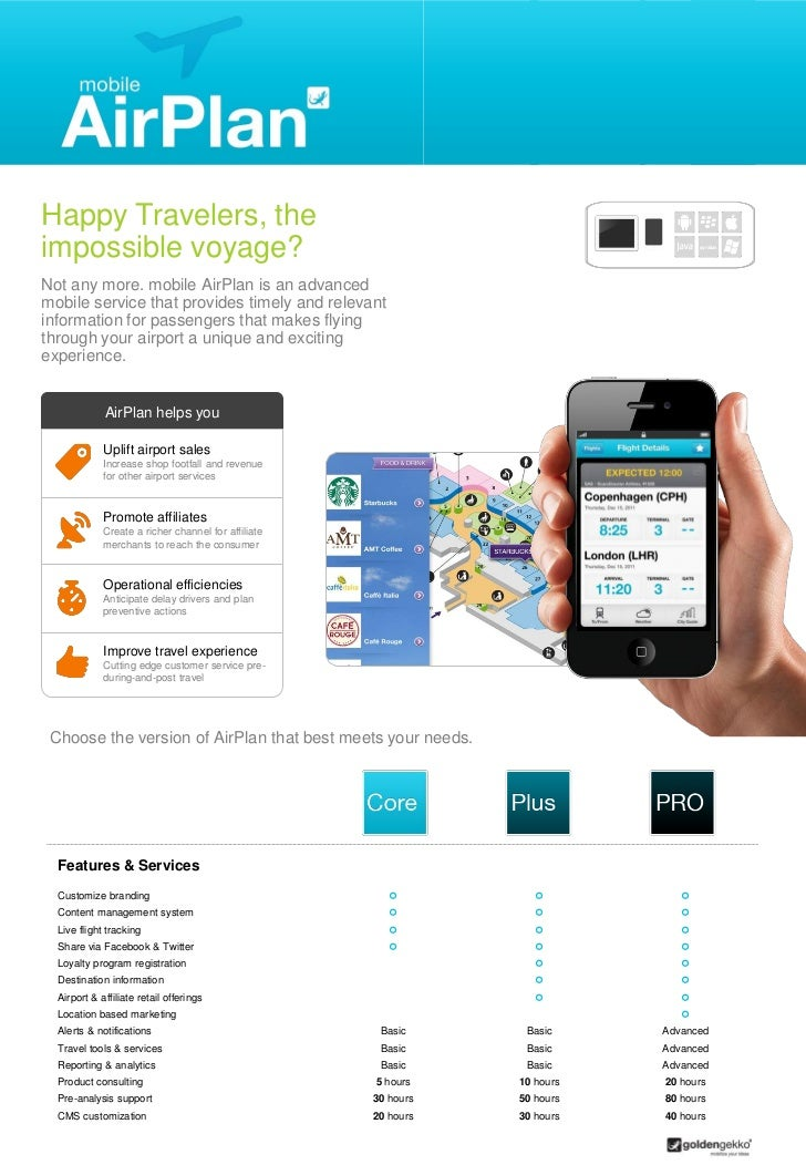 Happy Travelers, theimpossible voyage?Not any more. mobile AirPlan is an advancedmobile service that provides timely and r...