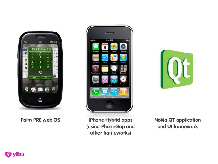 Palm PRE web OS    iPhone Hybrid apps   Nokia QT application                   (using PhoneGap and    and UI framework    ...
