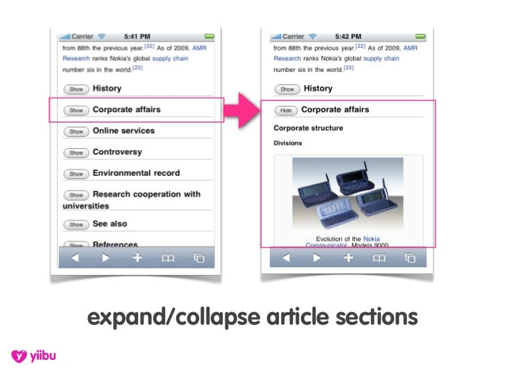 expand/collapse article sections