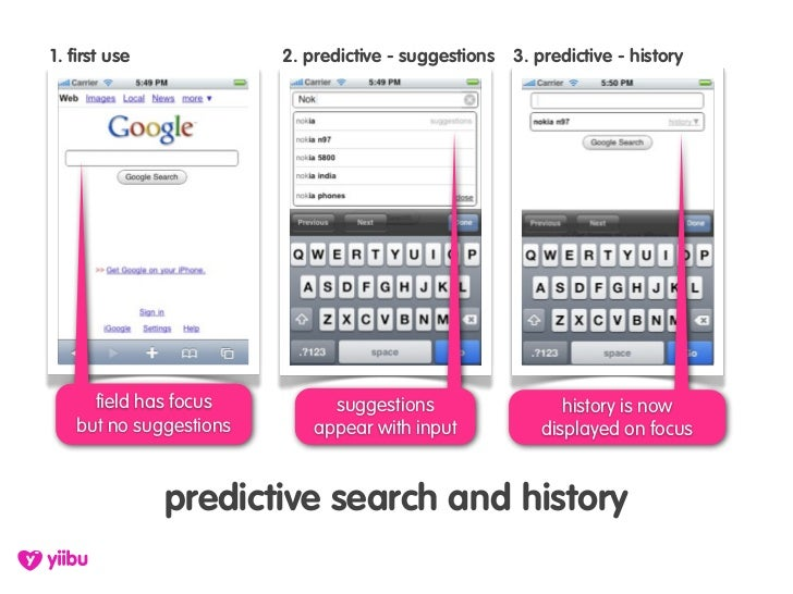 1. first use            2. predictive - suggestions   3. predictive - history          field has focus         suggestions...
