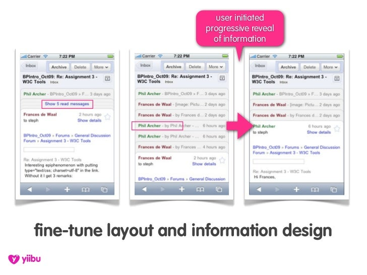 user initiated                       progressive reveal                         of information     fine-tune layout and in...