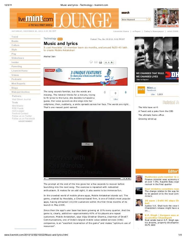 12/3/11                                                 Music and lyrics - Technology - livemint.com                      ...