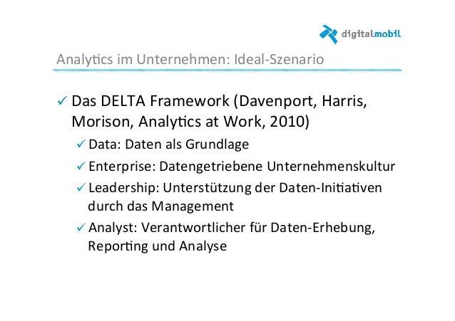 Analy-cs  im  Unternehmen:  Ideal-‐Szenario   ! Das  DELTA  Framework  (Davenport,  Harris,   Morison,...