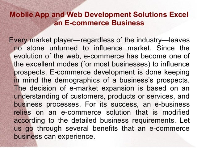 Mobile App and Web Development Solutions Excel an E-commerce Business Slide 2